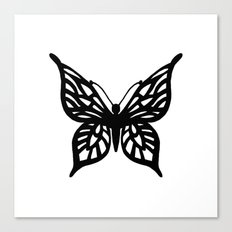 Butterfly Black on White Canvas Print