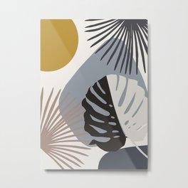 Minimal Yin Yang Monstera Fan Palm Finesse #2 #tropical #decor #art #society6 Metal Print