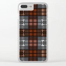 Dark black and blue plaid checkered Scandinavian design Clear iPhone Case