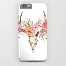 Bohemian deer skull and antlers with flowers Slim Case iPhone 6s