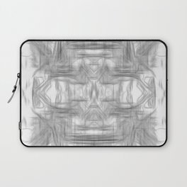 psychedelic graffiti skull art abstract in black and white Laptop Sleeve