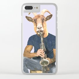 Goat Musician Clear iPhone Case