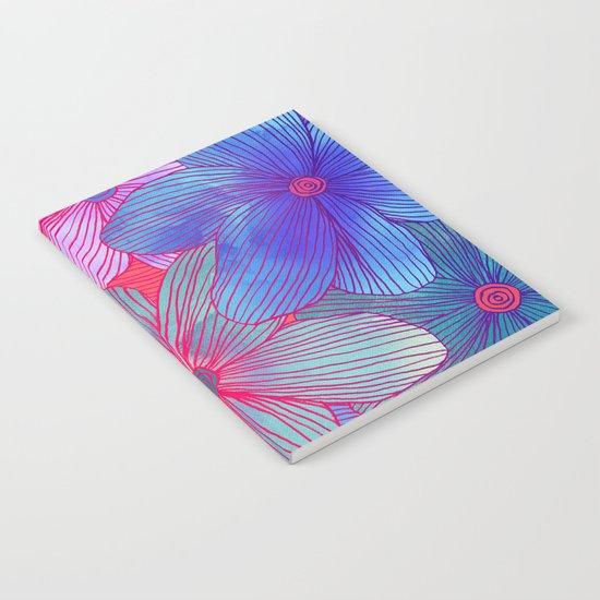 Between the Lines 2 - tropical flowers in purple, pink, blue & orange Notebook