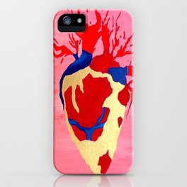 Cool Golden Heart Original Painting On Canvas iPhone Case