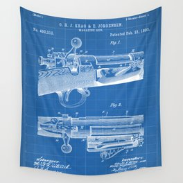 Bolt Action Rifle Patent - Repeating Receiver Art - Blueprint Wall Tapestry