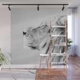 Lion Portrait - Black & White Wall Mural