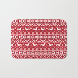 Dachshund doxie fair isle christmas sweater festive red and white holiday dog lover gifts Bath Mat