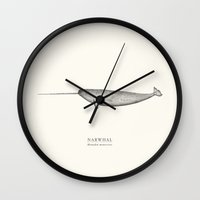 narwhal Wall Clocks featuring Narwhal by Sam Lyne