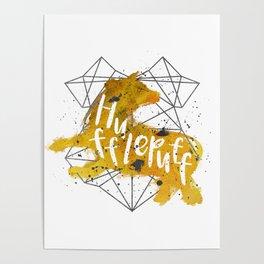 Hufflepuff Black Splatter Poster