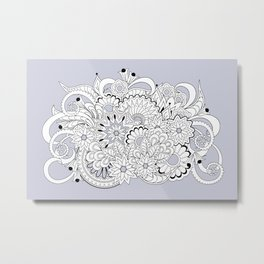 garmony floral tangled composition on the grey Metal Print