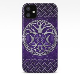 Triple Goddess with pentagram and tree of life iPhone Case
