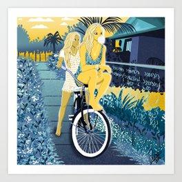 The girls on the bike Art Print