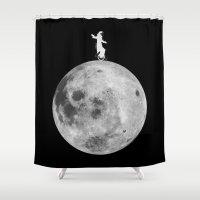 lunar Shower Curtains featuring Lunar balance by Tony Vazquez