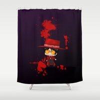 chibi Shower Curtains featuring Chibi Alucard by artwaste