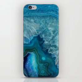 Teal Blue Agate slice iPhone Skin
