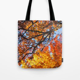 Autumnal colors in forest Tote Bag