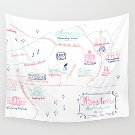 Illustrated Calligraphy Map Wall Tapestry