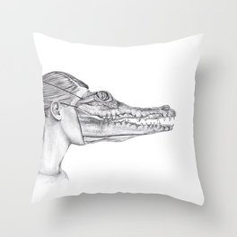 The Alligator Mask Throw Pillow
