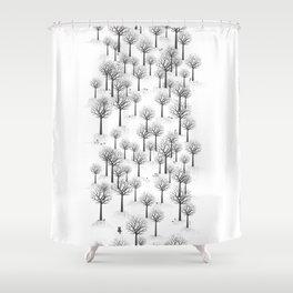 Winter Forest - Bunnies and Hound / by Friztin Shower Curtain