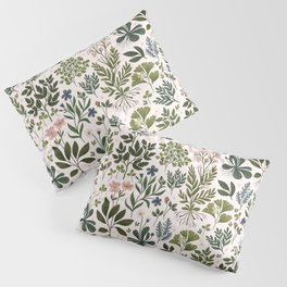 Herbarium ~ vintage inspired botanical art print ~ white Pillow Sham