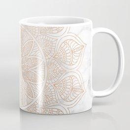 Mandala - rose gold and white marble 4 Coffee Mug