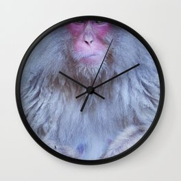 Japanese snow monkey sitting at hot spring in Jigokudani Park Wall Clock