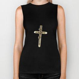 Cross Jesus Christ gold horizontal Biker Tank