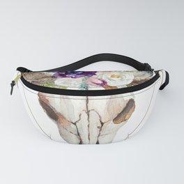 Modern geometric tribal floral bull skull Fanny Pack