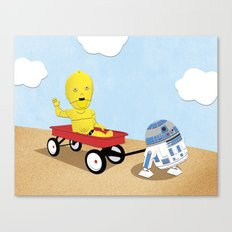 SW Kids - C3PO & R2D2 Red Wagon Canvas Print