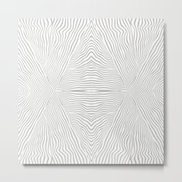 Boho, African,  Mud Cloth Stripes Pattern, Gray and White Metal Print