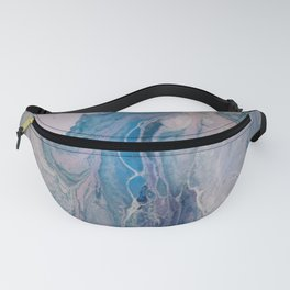 Purple, Blue, and White Abstract Fluid Acrylic Painting 3 Fanny Pack