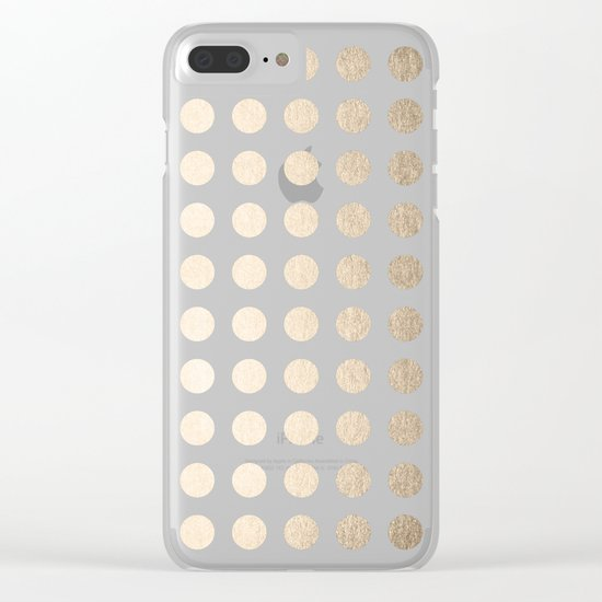 Simply Polka Dots in White Gold Sands Clear iPhone Case