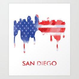 San Diego California American Flag Gift Art Print