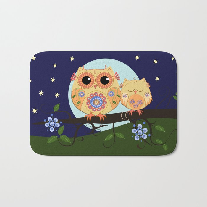 Colourful Flower power owl with her sleepy baby on branch Bath Mat