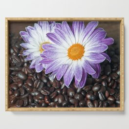 COFFEE with VIOLET DAISY Serving Tray