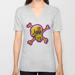 pizza face Unisex V-Neck