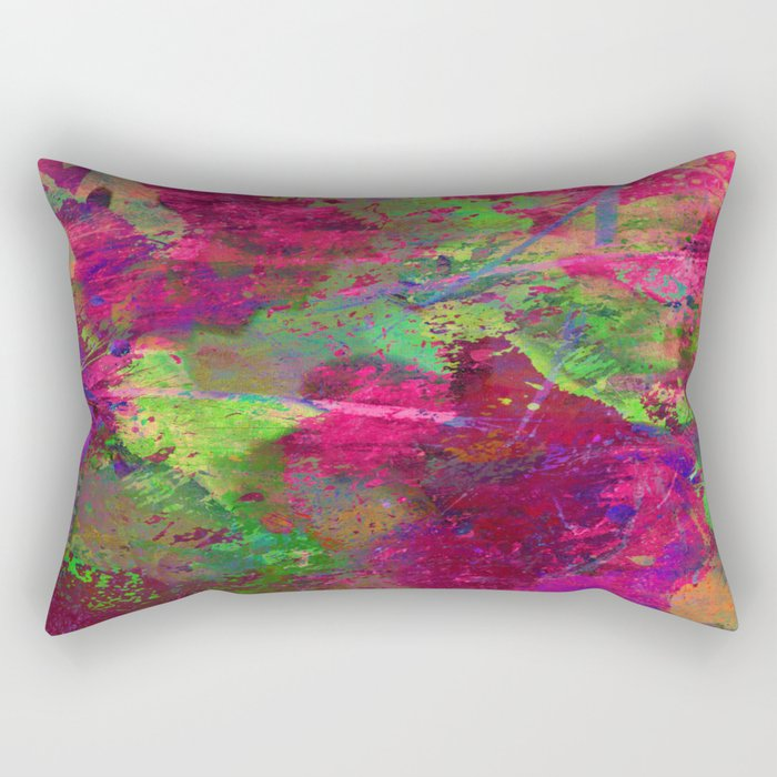 Fusion In Pink And Green Rectangular Pillow