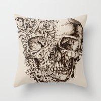 skeleton Throw Pillows featuring Skeleton by ViviRajski