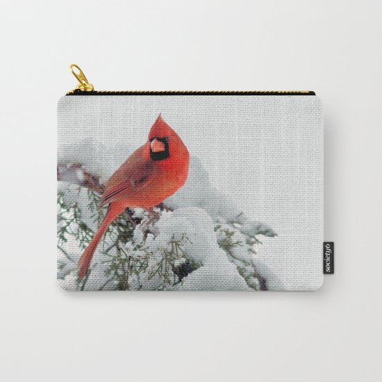 Cardinal on Snowy Branch #2 Carry-All Pouch