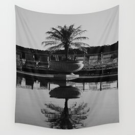 Tropical Reflection (Black and White) Wall Tapestry