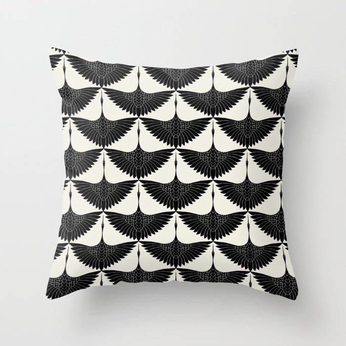 CRANE DESIGN - pattern - Black and White Deko-Kissen