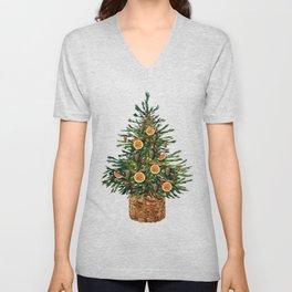 Watercolor Christmas Spruce Tree Unisex V-Neck