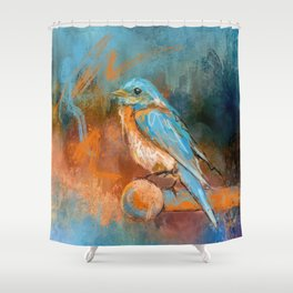 A Splash Of Bluebird Shower Curtain