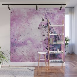 Pink Watercolor Cat Painting Wall Mural