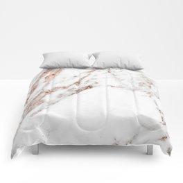 Rose gold foil marble Comforters
