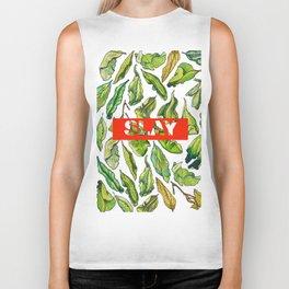 slay tea slay! // watercolor tea leaf pattern with millennial slang Biker Tank