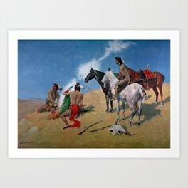 "Frederic Remington Western Art ""Smoke Signals"" Art Print"