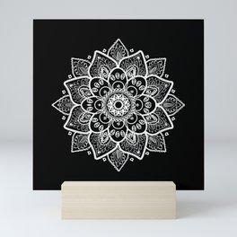 White Mandala On Black Mini Art Print