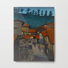 Vintage Japanese Woodblock Print Village At Night Feudal Japan Metal Print