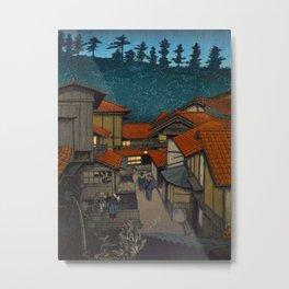 Vintage Japanese Woodblock Print Village At Night Feudal Japan Metal Print